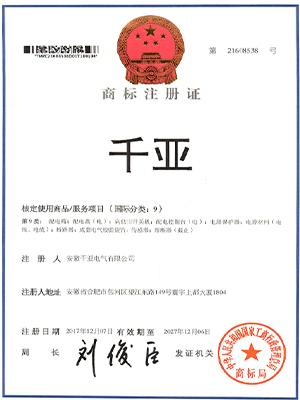 千亚商标注册证